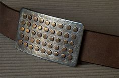 Hand Forged Bronze & Stainless Steel Polka Dot Belt Buckle by Canadian Artist, Robert Aucoin of  ironartcanada, $149.00  Check out etsy.com/shop/ironartcanada or ironartcanada.com for more items hot off the anvil