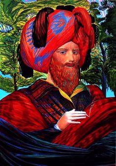 'Self portrat as Amira Arzi', painting by master Ernst Fuchs.