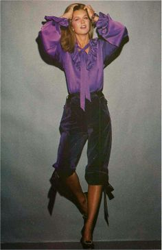 YSL, Harper's Bazaar October 1979.....remember knickers?! Wow, around this time if you didn't have a pair to these puffy short pants you totally out of it! haha fun :o) 70s 80s purple velvet silk bow top model magazine vintage fashion style pedal pushers