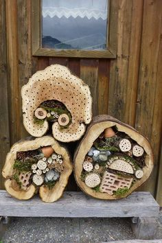 Insect Hotel Using Hollowed Out Log Pieces and Found Materials