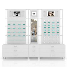 Lighting Wall Eyewear Display Counter Optical Shop Design Display Showcase Design China Made Display Showcase, Showcase Design, Beauty Salon Equipment, Designer Bar Stools, Shop Counter, Optical Shop, Salon Chairs, Latest Design Trends, Advertising Design