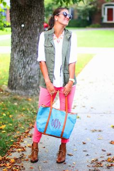 A Southern Drawl: Monogram It - Pants: J. Crew | Top: Express | Necklace: Gifted (similar) | Shoes: Clark's | Vest: Old Navy (similar) | Watch: Michael Kors | Earrings: Givenchy | Purse: c/o Bluetique