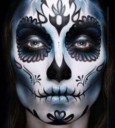 Day of the Dead Blue, black and white make up