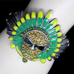 Exotic  Cuff Bracelet With Austrian Crystals & Beautiful Enamel