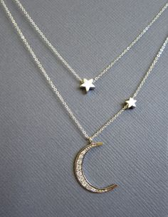 Moon and star necklace Star and Crescent Moon Necklace by Muse411, $64.00
