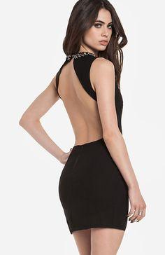 beaded collar open back dress