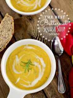 This is the Best Butternut Squash Soup Recipe I have EVER tasted. I'm not a huge squash fan, but I literally licked my bowl clean. I think the browned butter really hits the spot! Definitely save this recipe for later, you'll love it! Fall Recipes, Soup Recipes, Great Recipes, Vegetarian Recipes, Cooking Recipes, Favorite Recipes, Healthy Recipes, Best Butternut Squash Soup, Chutneys
