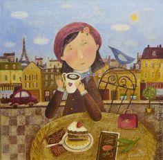 Купить Предчувствие любви - фуксия, Париж, парижанка, берет, птичка, Кафе, кофе, пирожное, весна