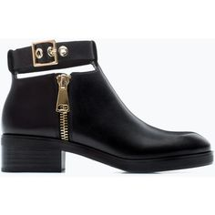 Zara Leather Bootie With Ankle Strap ($20) ❤ liked on Polyvore featuring shoes, boots, ankle booties, zara, ankle boots, black, leather bootie, black bootie, black leather boots and short boots