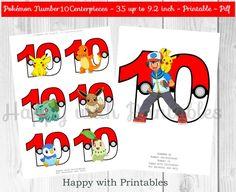 Pokemon GO Number 10 Centerpieces - Pokeballs Centerpieces - Pokemon GO - Pikachu - Pokemon Centerpieces - Pokemon party - Pokémon printable by HappywithPrintables on Etsy