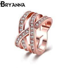 >> Click to Buy << Bryanna luxurious Brand Trend Crosss Rings for women Vintage fashion Jewelry anillos mujer rose Gold color female ring R201 #Affiliate