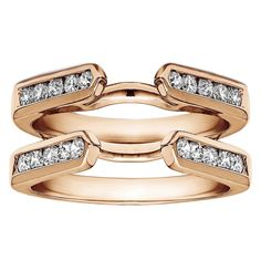 Sterling Silver 1ct Cubic Zirconia Solitaire Wedding Ring and Classic Guard Set (Rose Plated Sterling Silver, Size 12), Women's, Pink
