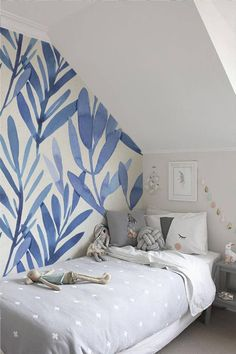 Wall mural with blue watercolor leaves, Temporary wall mural, Watercolor wall mural, Peel and stick wall mural, Watercolor wallpaper Watercolor Wallpaper, Watercolor Walls, Wallpaper Size, Wallpaper Panels, Watercolor Leaves, Wallpaper Samples, Wallpaper Ideas, Blue Wallpaper Bedroom, Wall Wallpaper