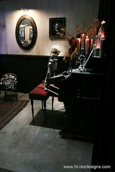 Skeleton and Piano Haunted House Display for Halloween
