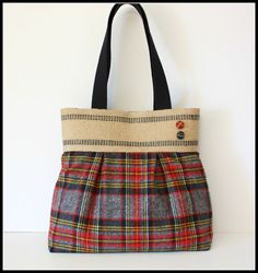 Red and Gray Plaid Bag with Jute Webbing Band by SweetPeaTotes, $49.00