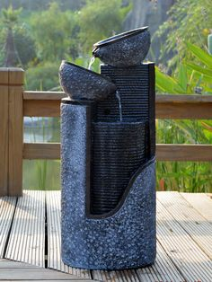 solaray gartenbrunnen solar kaskadenbrunnen 4 st ckig bepflanzbar grau 42cm x 39cm x 39cm. Black Bedroom Furniture Sets. Home Design Ideas