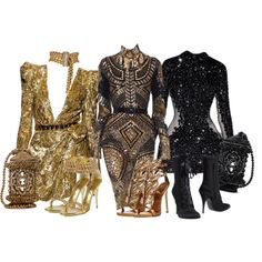 A fashion look from March 2016 featuring Giuseppe Zanotti, clear heel shoes and gold handbags. Browse and shop related looks. Classy Outfits, Sexy Outfits, Pretty Outfits, Stylish Outfits, Kpop Fashion Outfits, Stage Outfits, Fashion Dresses, Mode Kpop, Looks Chic