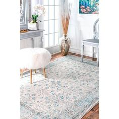 nuLOOM Rio Vintage Aqua 4 ft. x 6 ft. Area Rug-RZBD19A-406 - The Home Depot Aqua Area Rug, Machine Made Rugs, Area Rug Sizes, Grey Rugs, Colorful Rugs, Contemporary Design, Love Seat, Vintage Rugs, Furniture