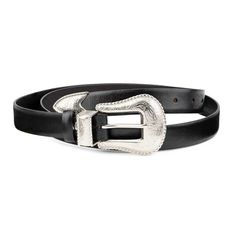 46956924a Womens Western Belt Black smooth leather Cowgirl rancho Silver 3 pc buckle # fashion #clothing