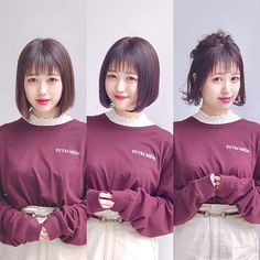 Before→After→Arrange . Japanese Hairstyles, Hair Styles, Hair Plait Styles, Japanese Hairstyle, Hair Makeup, Hairdos, Haircut Styles, Hair Cuts, Hairstyles