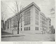 The B. M. C. Durfee Technical High School. The building served as an emergency hospital for influenza patients during Fall River's epidemic.
