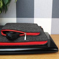 FELT LAPTOP SLEEVE MacBook Cover Dark Gray Felt Red Zipper Extra Charger Pocket All Sizes Customisable by PurolDesignBags on Etsy