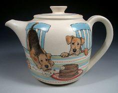 Airedale Tea Party Teapot by Nan Hamilton