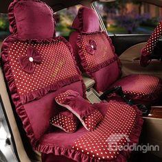 Bow-Lace-Universal-Auto-Car-Seat-Cover-Set-Short-velvet-19pcs-Pink ...