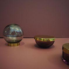 Rose Tota jars make great companions for the mini Globe. #AYTM #AYTMdesign #interiordesign #danishdesign #weloveit #Homedecor #Uniquestyle #Tota #jar #Mini #Globe #glass #brass