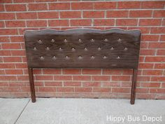Mid Century Modern Faux Walnut Vinyl Button Tufted Full Bed Headboard Vintage   eBay