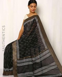 Buy Black Indie Picks Patri Print Chanderi Saree with Ghicha Border Black Saree, Saris, Indian Sarees, Indian Outfits, Party Wear, Aztec, Indie, Patterns, Sexy
