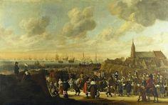 Cornelis Beelt (ca.1612-1664/1702).    Het vertrek van Charles II, koning van Engeland, vanuit Scheveningen op 2 juni 1660 naar Engeland. (Coll. Rijksmuseum, Amsterdam).
