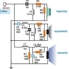 Dividing Network Diagram - 3 Way Speaker Crossovers Circuit Diagram Image - Dividing Network Diagram Tutorial, Motor Elektrik Subwoofer Box Design, Speaker Box Design, Electronics Projects, Electronics Gadgets, Hobby Electronics, Electronics Components, Electronic Circuit Design, Electronic Engineering, Audio Crossover