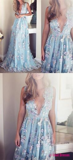 V-neck Sleeveless Blue tulle Appliques Prom Dresses, Affordable Long A-line Prom Dress PD20188398