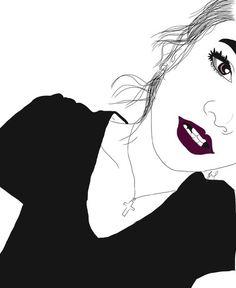 art, noir et blanc, couleur, dessin, dessins, fille, grunge,