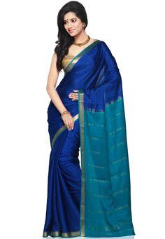 Blue Pure Mysore Silk Saree with Blouse: STC252