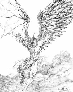 Dark Angel Drawings Sketch Coloring Page Tattoo Drawings, Cool Drawings, Body Art Tattoos, Pencil Drawings, Sleeve Tattoos, Evil Tattoos, Angel Sketch, Angel Drawing, Wings Sketch