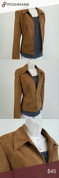 Tribal brown / tan faux suede jacket Long-sleeved zip front faux suede jacket in tawny brown with faux front pocket detail.  Fully lined & machine washable.  Bust 20 / waist 18 / length 22 inches.  100% polyester. Tribal Jackets & Coats