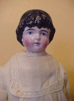 "16"" old antique German Kling china head Highland Mary Doll in orig antique gown 