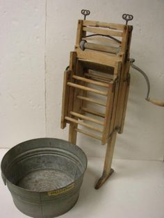 Hand+Wringer+Washer | 322: Wooden Hand Crank Wringer Washer and Tin Wash Tub: