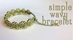 Macrame tutorial: The simple wavy bracelet - Fast and easy handmade making. Wavy is most popular and easy pattern, you can apply it in almost project. In this Macrame tutorial, Ill show you how to made a simple wavy bracelet, very easy, you can make it in Macrame Bracelet Patterns, Macrame Bracelet Tutorial, Macrame Patterns, Macrame Bracelets, Macrame Knots, Gold Bracelets, Diamond Earrings, Chevron Bracelet, Macrame Bag