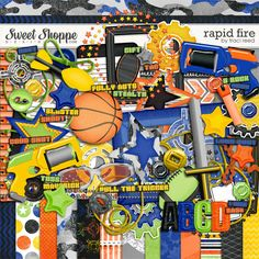 Rapid Fire Digital Scrapbooking Kit by Traci Reed goes well with all your NERF photos!