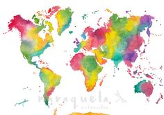 ITEM DESCRIPTION: • Original Painting of the world map. • Rainbow colors. Colorful and joyful idea for decor your wall. • Available the original