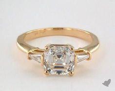 Yellow Gold Side Stones Engagement Ring With Carat Cut Asscher Diamond Baguette Engagement Ring, Yellow Engagement Rings, Gold Engagement Rings, Stacked Wedding Rings, Wedding Rings Sets Gold, Wedding Band, Dream Wedding, Wedding Ring Designs, Ring Set