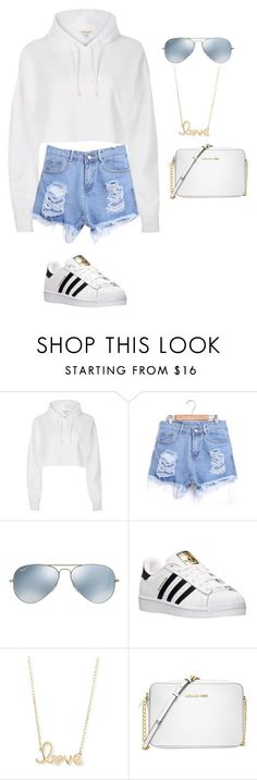 Untitled #35 by jaycutie2-1 ? liked on Polyvore featuring River Island, Ray-Ban, adidas, Sydney Evan and Michael Kors