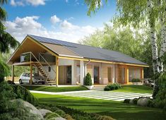 Projekt domu Eryk (z wiatą) 89,19 m² - koszt budowy - EXTRADOM Family House Plans, New House Plans, Dream House Plans, My Dream Home, Simple House Design, Modern House Design, Beautiful House Plans, Compact House, Design Case