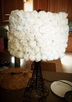 White paper flower pendant light flower lampshade flower and crepe paper flowers for lamp shade mozeypictures Choice Image