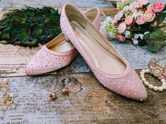 Pretty in Pink custom dyed and rhinestone adorned wedding shoes Rhinestone Wedding Shoes, Bridal Shoes, Special Occasion Shoes, Feel Unique, Aurora Borealis, Custom Shoes, Wedding Accessories, Pretty In Pink, Blush Pink