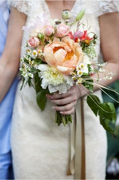 Natural wildflower mixed bouquet. Peach, pink, white and green - I love the shape. Maybe butter yellow instead of peach?
