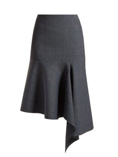 Prince Of Wales-checked asymmetric skirt Top Model Fashion, Fashion Line, Fashion 101, Look Fashion, Skirt Outfits, Chic Outfits, Pretty Outfits, Tie Skirt, Skirt Pants